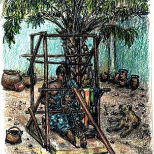 man weaving kente cloth
