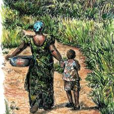 woman and boy walking