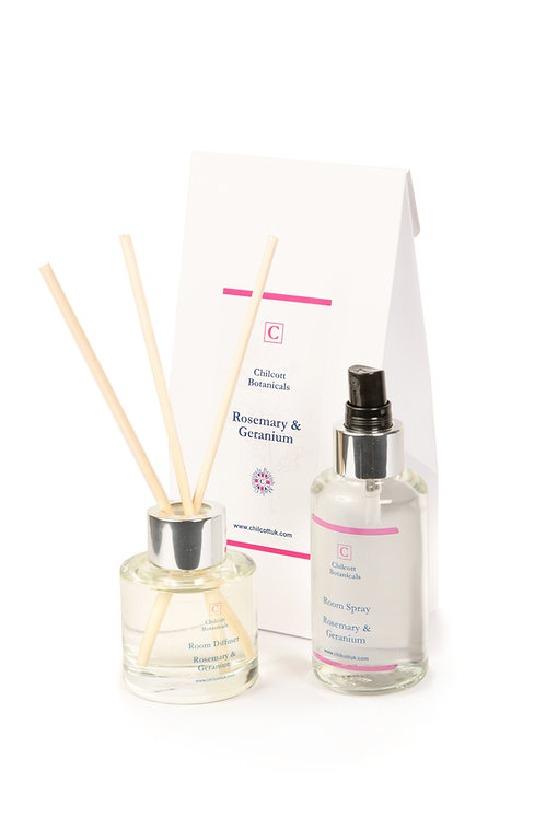 Diffuser and Room Spray Gift Set: Rosemary and Geranium