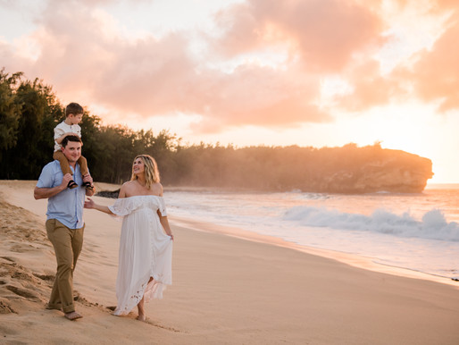 Sunrise family & maternity session on Shipwreck beach Poipu,  Kauai