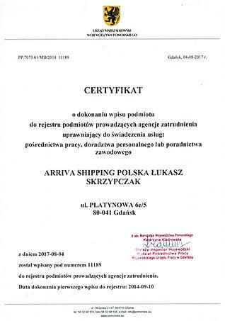 KRAZ nowy Certyfikat Arriva Shipping Pol