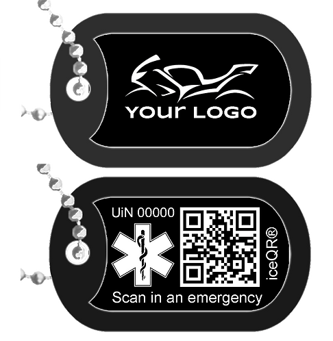 Dog Tag Double sided iceQR & Personalised