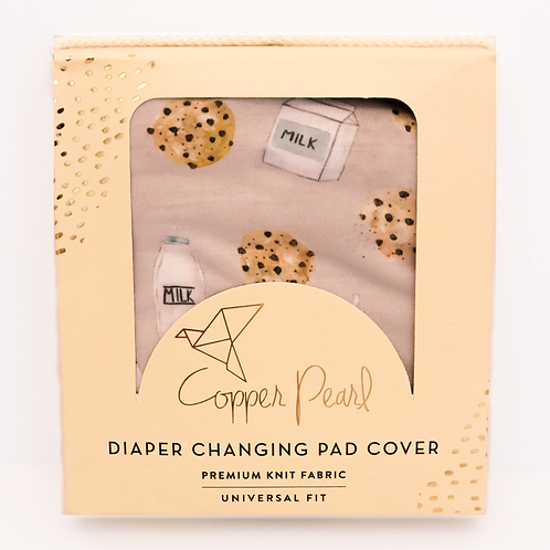 Copper Pearl Milk and Cookies Diaper Changing Pad Cover