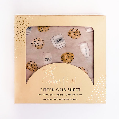 Copper Pearl Milk and Cookie Fitted Crib Sheet