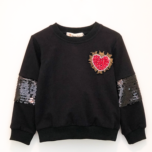 Doe a Dear Sequined Heart Sweatshirt