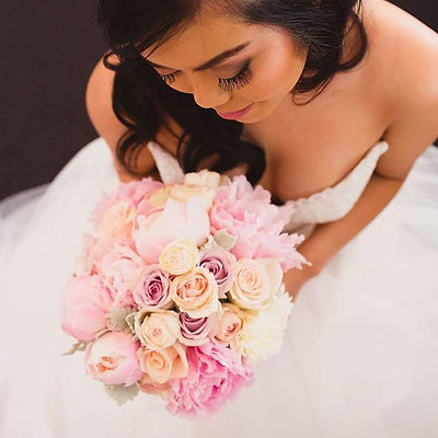 BRIDAL BOUQUET FLOWERS  PINK PEACH PASTELS ROSESE