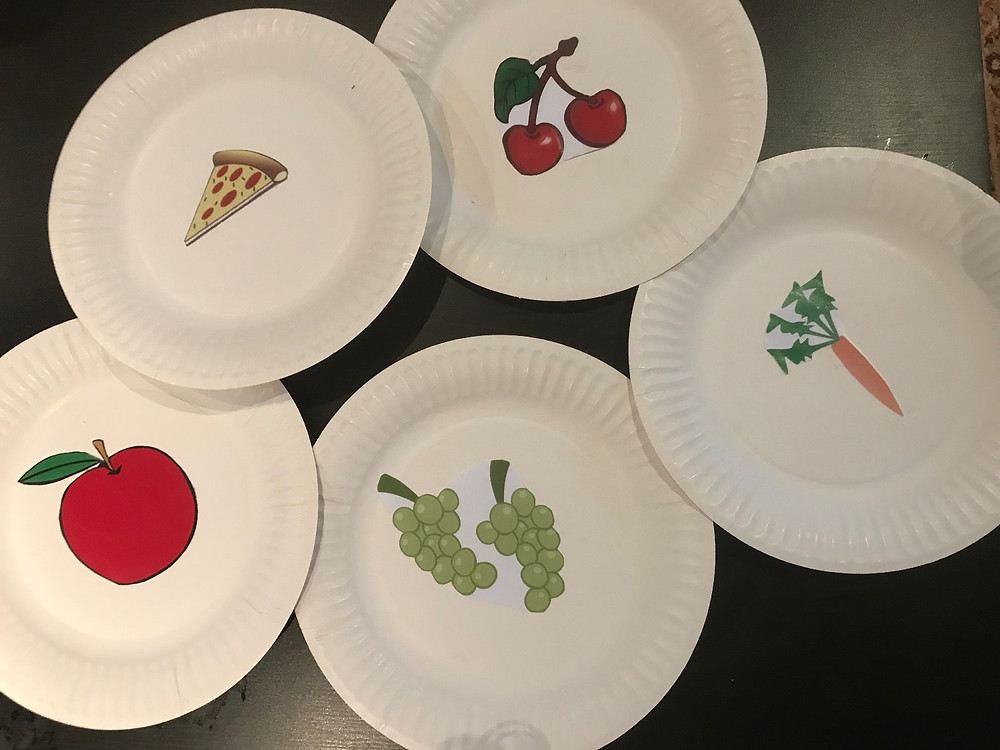 Plates with food pictures