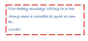 Five cheeky monkeys chant