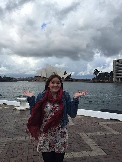 Standing outside the Sydney Opera House