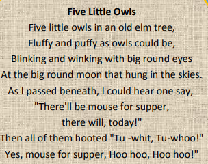 Five Little Owls Chant