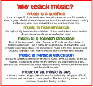 Music as different subject areas