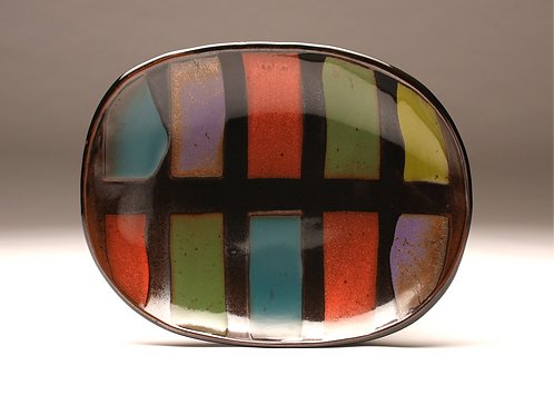 Large Colorful Striped Oval Platter