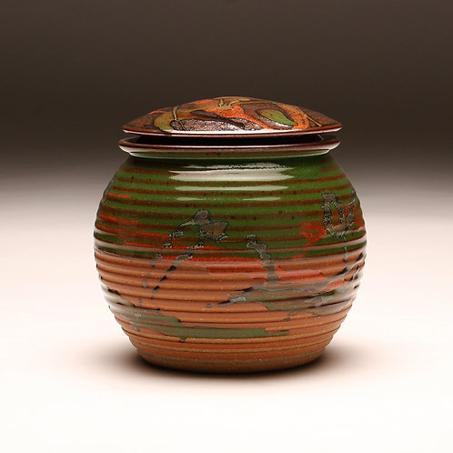 Medium Groovy Covered Jar