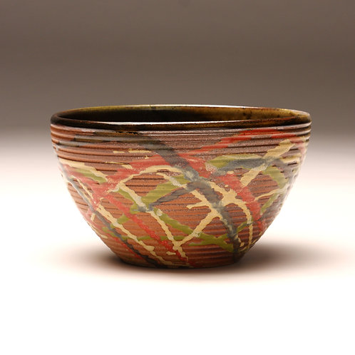 Large Groovy Carnival Bowl, Woodfired