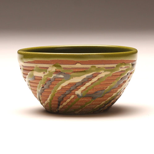Small Groovy Carnival Bowl, Woodfired