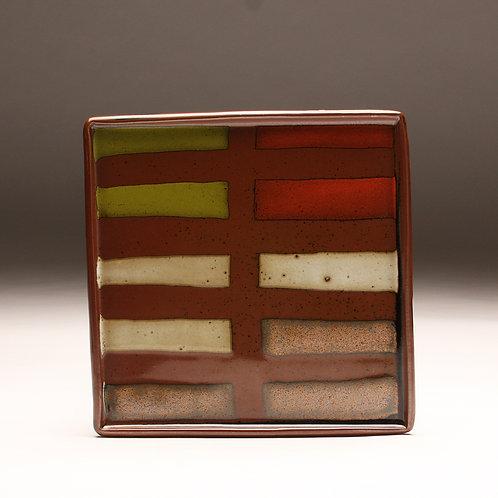 Large Striped Square Plate