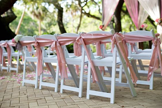 White Padded Chairs & Chair Sash