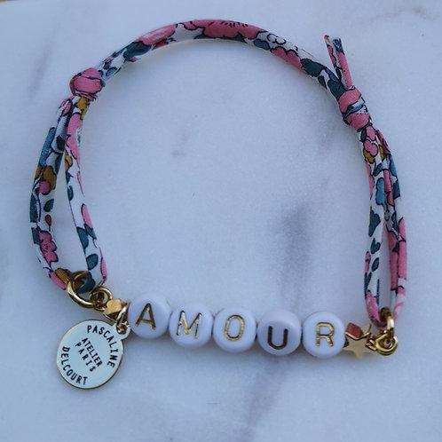 Bracelet perles lettres Liberty à personnaliser