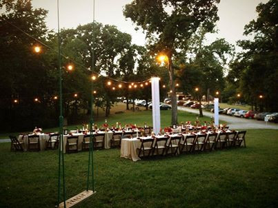 Outdoor bistro lighting for wedding venues