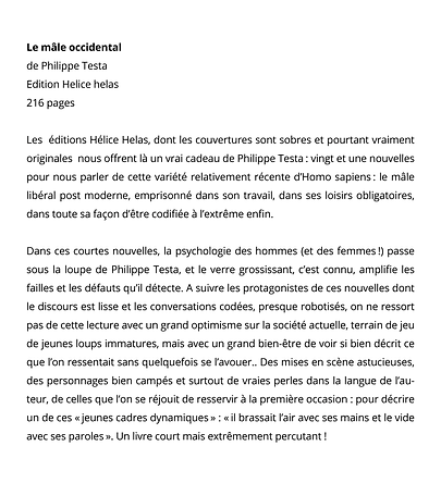 Le mâle occidental de Philippe Testa