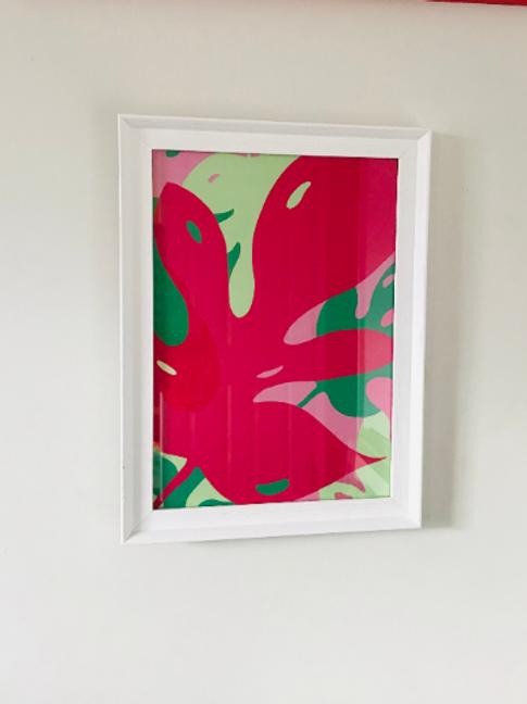 Pink Monstera Brights A4 Print