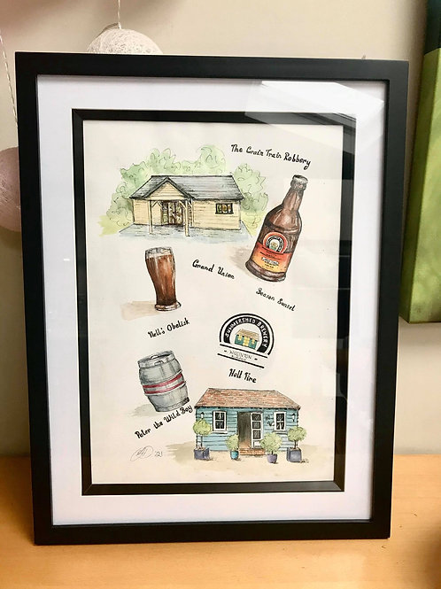 Personalised artwork A3 size - ink and watercolour
