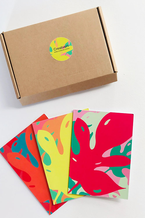 Box set of 6 greetings cards in 3 bright designs