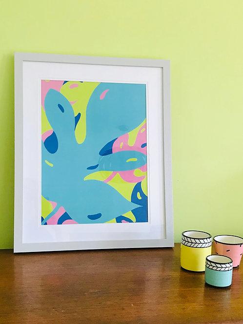 A3 Monstera Brights Prints Aqua