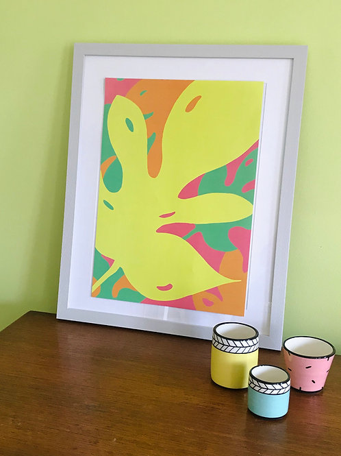 A3 Monstera Brights Print Acid Yellow