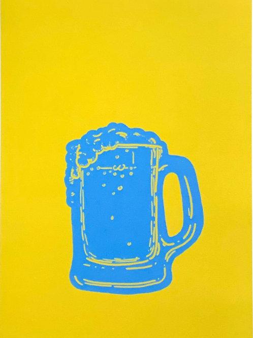 Blue beer glass