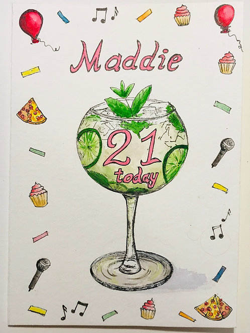 Example of a personalised A6 greeting card