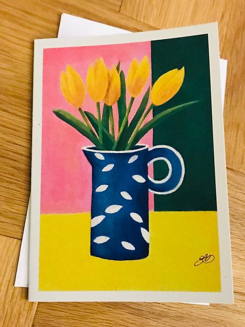 Blue jug of tulips card