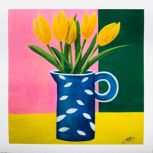 Giclee print - Blue patterned jug with tulips