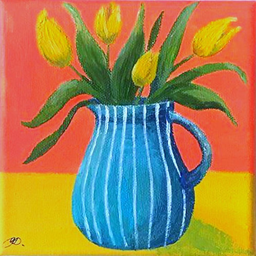 Blue Jug and Tulips 2