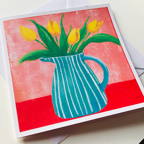 Striped jug of tulips card