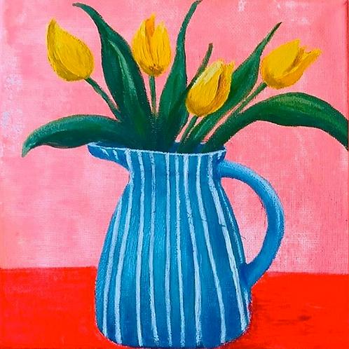 Blue Jug & Tulips 1