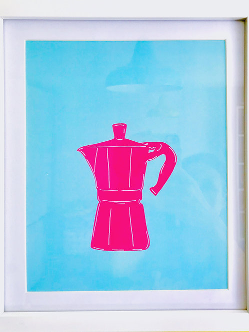 Pink coffee pot framed print