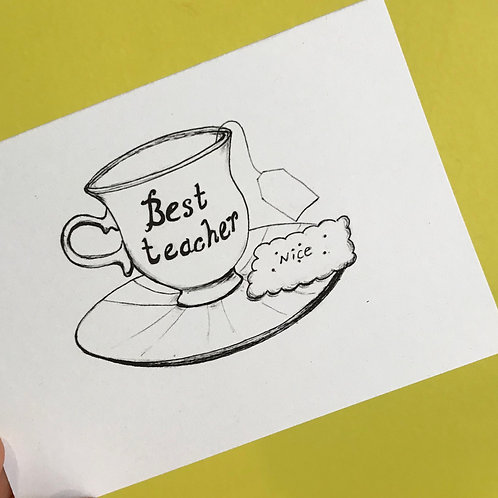 Colour-in-yourself and personalise 'Best Teacher' Card