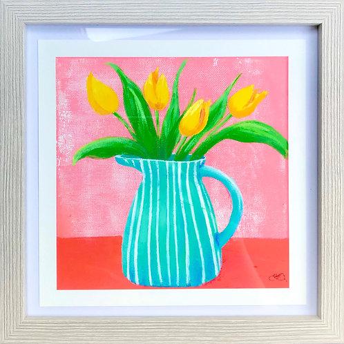 Giclée print - Blue jug with tulips