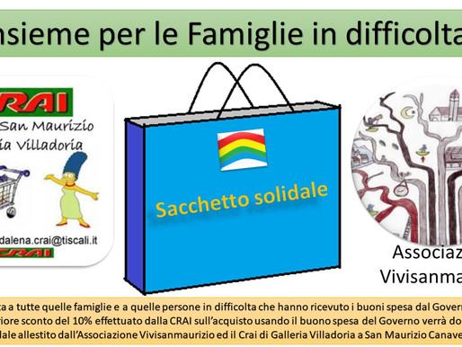 """""""Sacchetto Solidale"""" Vivisanmaurizio e  CRAI insieme per aiutare le persone in difficoltà."""
