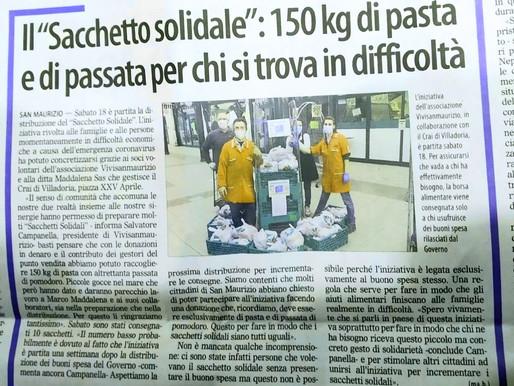 Vivisanmaurizio e CRAI Villadoria. Donati 300kg di alimenti in solidarietà.