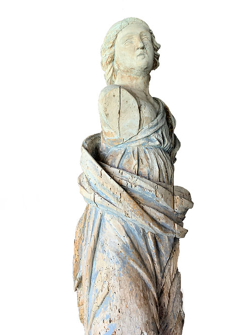 16th Century (Italy) Carved Wood Sculpture of Lady In Robes