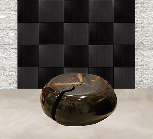 Black Pine Round Sculptural Table by Daniel Pollock