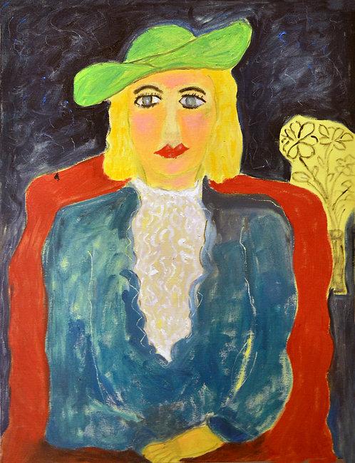 """""""Lady Wearing Green Hat"""" by JoAnne Fleming"""