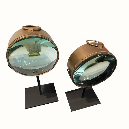 Pair of Vintage Nautical Magnifying Glass Sculpture