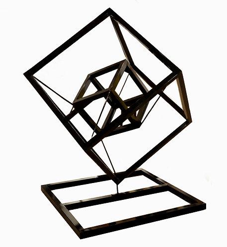 Freestanding Steel Tesseract Sculpture