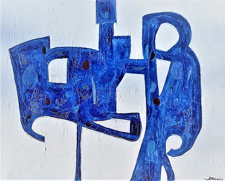 Blue Sculpture on Canvas by Kenneth Joaquin (b. 1948)