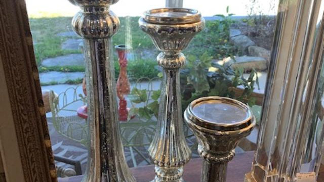 SET of 3 Krome Candle Holders
