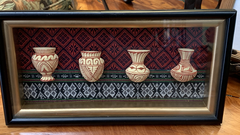 Thailand Painted Pottery Framed with Glass Front