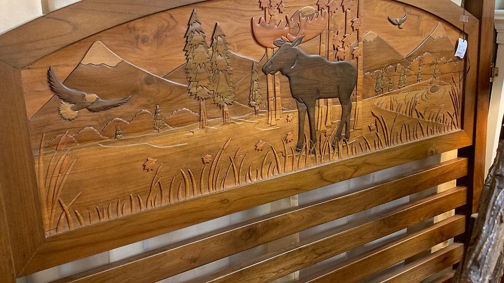 Carved Moose Queen Headboard **SOLD***
